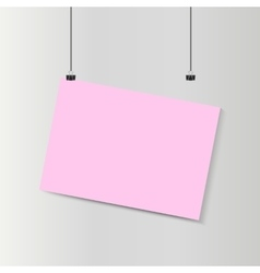 Empty falling horizontal pink paper poster mockup vector
