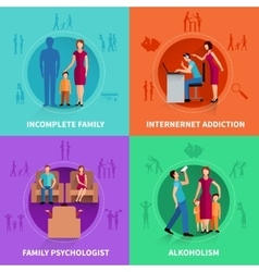 Family Conflict Design Concept Set vector image