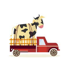 farming and agriculture concept with large cow in vector image