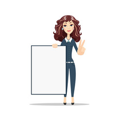 female showing placard ready for your text vector image