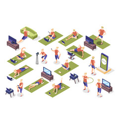 fitness online isometric recolor set vector image