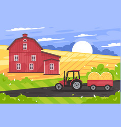 Flat countryside landscape with farm house road vector