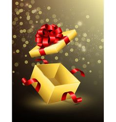 flying opened gift box with red ribbons vector image