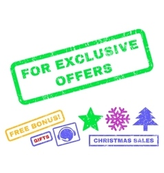 For Exclusive Offers Rubber Stamp vector
