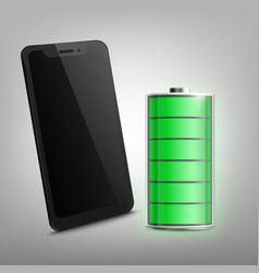 full charged battery and phone screen realistic vector image