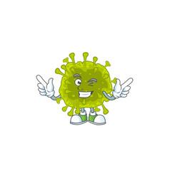 Funny coronavirus spread cartoon with wink eye vector