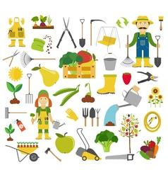 Gardening work farming icon set Flat style design vector image