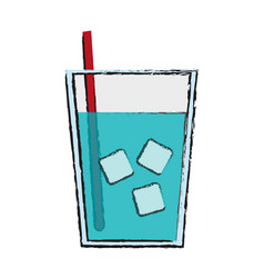 Glass of water with ice and straw icon image vector