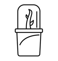 Glass plant pot icon outline style vector