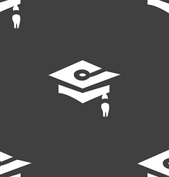 Graduation icon sign Seamless pattern on a gray vector