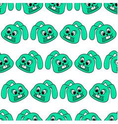 green smile rabbit seamless pattern textile print vector image