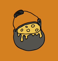 Halloween witch cauldron with bubbling goo vector