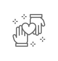 Hands with heart donation volunteering charity vector