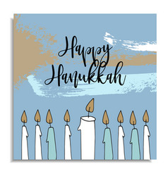 hanukkah greeting card with hand drawn candles vector image