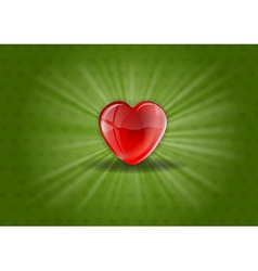 Heart background shine green vector