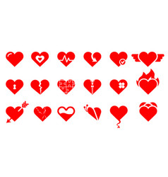 heart icons collection love symbol vector image