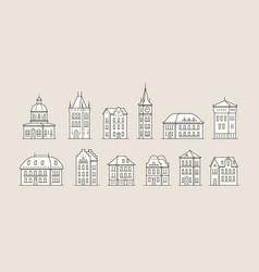 historic building icon set architecture city vector image