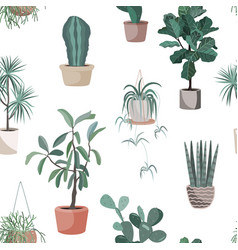 house indoor plant cartoon doodle seamless vector image