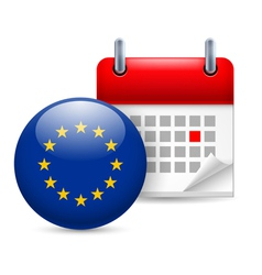 Icon of EU flag and calendar vector image