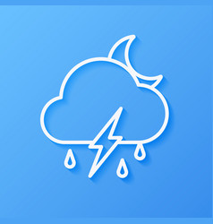 Icon weather moon cloud rain with lightning vector