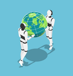isometric ai robot holding earth planet in hands vector image