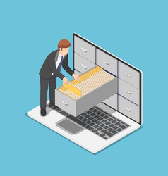 Isometric businessman manage document folders in vector