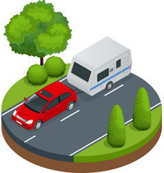 isometric red car with camping trailer on road vector image