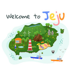 jeju island travel map fun in uninhabited vector image