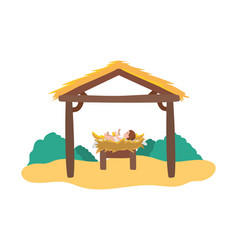 Jesus christ bain cradle and stable manger vector
