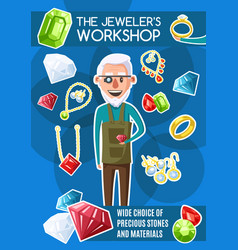 jewelers workshop jewerly and gemstones vector image