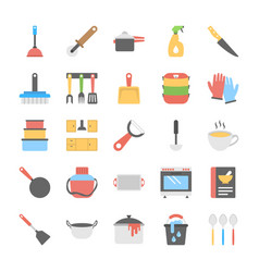 Kitchen utensils flat icons collection vector