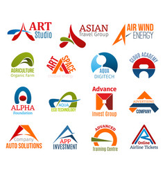 letter a corporate identity business icons vector image