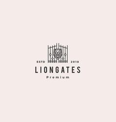 lion gate liongates logo hipster retro vintage vector image