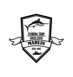 marlin fishing trip emblem template with vector image