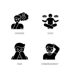 Mental state black glyph icons set on white space vector