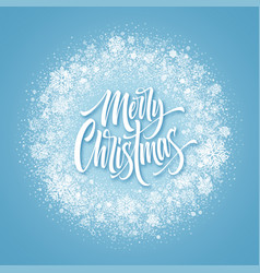 merry christmas lettering in snowy frame vector image