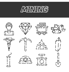 Mining flat icon set vector image