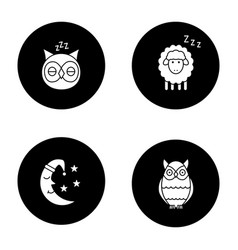 Nighttime glyph icons set vector