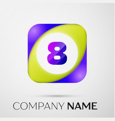 Number eight logo symbol in the colorful square on vector