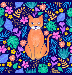 orange cat and tropical flowers vector image