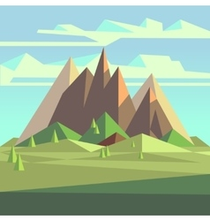 Origami landscape in 3d low poly style with vector image