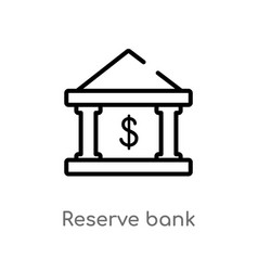 Outline reserve bank icon isolated black simple vector