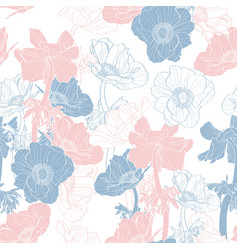 Pattern with hand drawn line anemone flowers vector