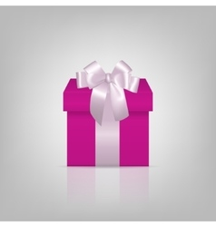 Pink square gift box with white ribbon and bow vector image vector image
