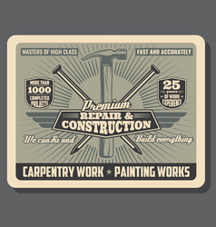 Repair and construction carpentry tools shop vector
