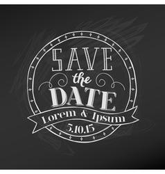 save date - wedding chalkboard card vector image
