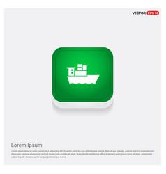 Sea ship icon green web button vector