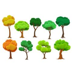 seasonal trees set summer and autumn trees vector image