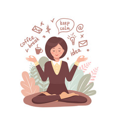 secretary woman meditates vector image