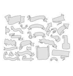 set cartoon hand drawn ribbons and labels vector image